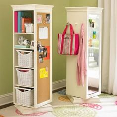 Get a cheap shelf from Ikea. Attach a mirror and cork board and put it on top of a lazy susan (also from Ikea).