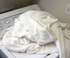 1 cup of white vinegar 1/2 cup of baking soda HOT water   :   for great smelling towels