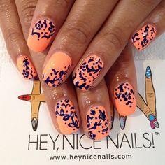 navi blue, hey nice nails, sun of a peach nail designs, color, navy blue and peach nails, chinaglazeoffici, blue nailart, navy nails peach, blues