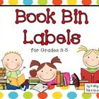 Book bin labels with a colorful polka dot background -- super cute and just the right size.
