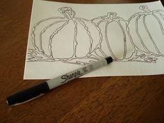outlining glue with sharpie before using water colors