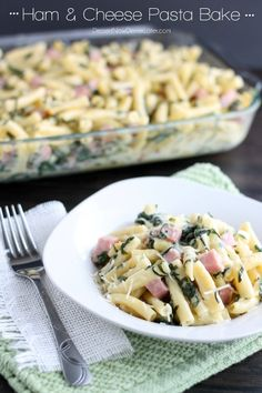 Ham  Cheese Pasta Bake - diced ham, ribbons of spinach, and tender pasta tossed in a white cheddar cheese sauce. | DessertNowDinnerLater.com #ham #spinach #cheese #casserole