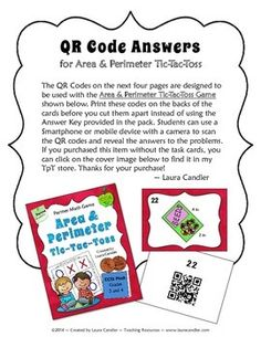 New! QR Codes for Area & Perimeter Tic-Tac-Toss game. $