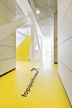 office floor graphics #yellow #workhappy home interiors, environmental graphics, design interiors, architecture interiors, office graphic design, environment graphic, floor signage, floor graphics, graphic design offices