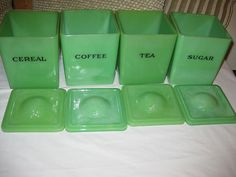 Jeanette Jadite Canister Set   eBay; colour varies, but what a set!