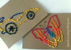 Easy Stitch Cards - teach your kids to embroider.