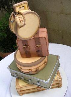 Suitcase Cake wedding cakes suitcase, vintage suitcases, idea, suitcas cake, luggag cake, travel cake, suitcase cakes, vintag suitcas