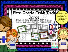 Math Task Cards for 1st grade! Enter for your chance to win 1 of 4.  Common Core Math Task Cards - Addition and Subtraction Word Problems 1st grade (30 pages) from Kindergarten Boom Boom on TeachersNotebook.com (Ends on on 9-1-2014)  Enter to win this set of math task cards for 1.OA.1! Good luck!