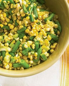 Indiana Succotash. This vegetarian side dish mixes green beans, corn, and scallions.