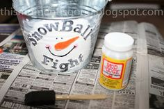 SNOWBALL FIGHT IN A BUCKET.  Make it yourself!