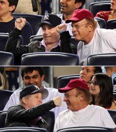 Paul Simon and Art Garfunkel at a Yankees game in New York City, June, 2010