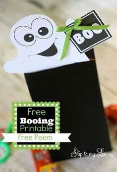 Start booing in your neighborhood. Make it easy with this free printable and poem! What a fun halloween tradition! www.skiptomylou.org