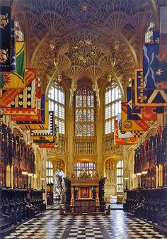 U.K. Westminster Abbey, London / Henry VII's Lady Chapel - the flags are those of the present day Knights Grand Cross of the Most Honourable Order of the Bath.