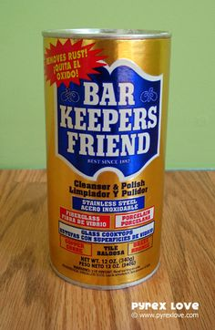 Clean your vintage Pyrex dishes with Bar Keepers Friend