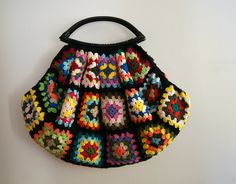 Black Crochet granny square bag