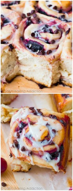 Super soft & fluffy sweet rolls filled with chocolate chips and juicy cherries. Treat yourself for breakfast!