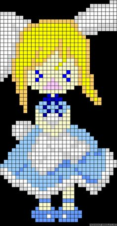 Alice in Wonderland perler bead pattern... Could be used for Rainbow Loom