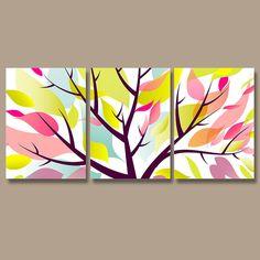 Wall Art Canvas Watercolor Artwork Season Tree Colorful Floral Leaves Pink Green Aqua Nursery Set of 3 Prints Decor Bedroom Bathroom Three