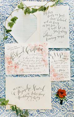 illustrated wedding invitations with simple, elegant calligraphy