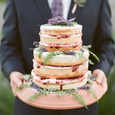 layered naked cake with jam   via: grey likes weddings