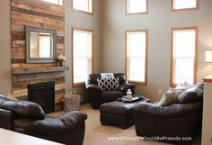 From Pallets to Paneled Fireplace