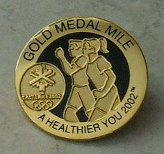 OLYMPIC GAMES PIN Gold Medal Mile Healthier You Salt Lake 2002 Olympics Hat Pin