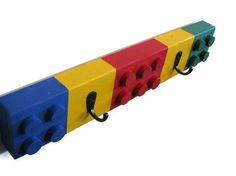 Building Brick Chunky Block Coat Rack - 2 Hooks - Unique Children's Decor, Building Block Coat Rack, Colorful, Bright on Etsy, $28.00