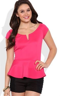 Deb Shops Peplum Top with Cap Sleeves and Notched Neckline $10.00
