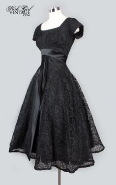 Vintage Black Lace Tea Length Evening Party Dress