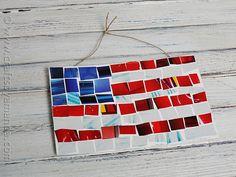 Magazine Mosaic Flag - Crafts by Amanda