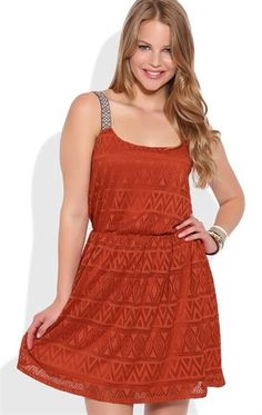 Deb Shops Tribal Crochet A-Line Dress with Embroidered Straps $24.50
