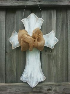 Distressed Cross Door Hanger by CurlyQsCreation on Etsy, $30.00-