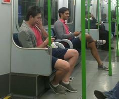 they are both texting some weird guy next to me is wearing the same thing as me