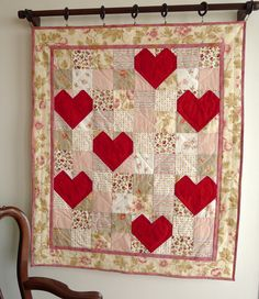 sew, babyquilt easi, red, color, valentin quilt, pink heart, quilter dream, heart quilts, rubi quilt