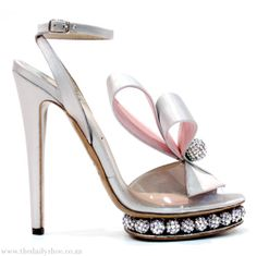 NICHOLAS KIRKWOOD Pearlescent Silver & Iced Pink Accented Ankle Strap Sandals Ensure A Sparkling Entrance!