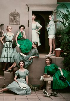 Vintage photo of models in green by Frances McLaughlin-Gill, April 1952
