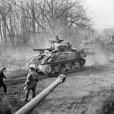 Shermans of 4th/7th Dragoon Guards move up to support the attack on Goch, 17 February 1945.