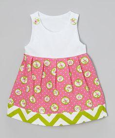 Look at this #zulilyfind! Pink & Green Flower Janie Mae Dress - Infant, Toddler & Girls #zulilyfinds