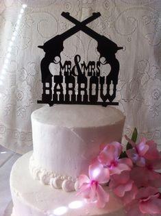 Western & Pistol Personalized Wedding Cake Topper custom person, redneck wedding cake toppers, idea, country wedding cake toppers, pistol person, western cakes, country cake toppers, wedding cakes, country rustic