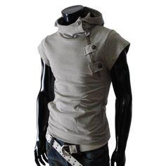 TheLees Mens casual buckle zipper slim hoodie T-shirts