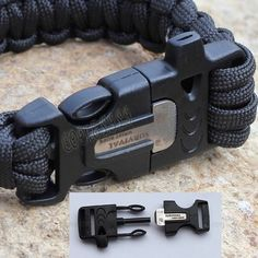 paracord wrist band buckle including whistle and firestarter