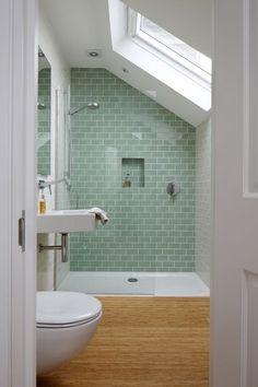 Lovely bathroom...tiled shower and sky light are my favorite parts! green tile, attic bathroom ideas, bathroom tiles ideas, tiled showers, small bathrooms, sky lights, skylight, attic bathrooms, green bathroom tiles