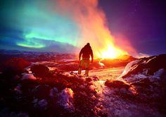 """Northern Lights Paint Sky Over Arctic Volcano"""