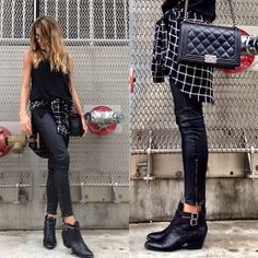 Black Tank + Black and White Flannel + Black Leather Pants + Black Leather Ankle Boots