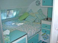 beds, old campers, color schemes, colors, vintag trailer, fan, blues, vintag camper, vintage campers