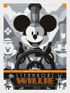 Poster for Steamboat Willy (1928), reimagined by Tom Whalen