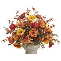 Poppy/ Rose/ Orchid Silk Floral Centerpiece ARWF3944 #silkflowers