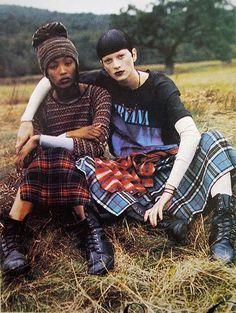 90s grunge plaid on plaid