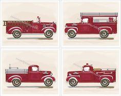 Fire Trucks Firetruck Engines Vintage Retro by DandielionsDream, $21.99