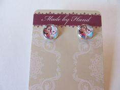 Frozen Elsa & Anna Silver Plated Bezel Stud Earrings by Doris2618, $3.00